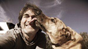 Dog licking a man's face.